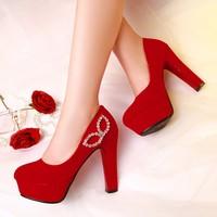 2015 new arrive fashion velvet thick high-heels shoes wedding shoes platform fashion  single shoes women's shoes big size F51