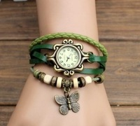 7 Colors Original High Quality Women Genuine Leather Vintage Watches,Bracelet Wristwatches butterfly
