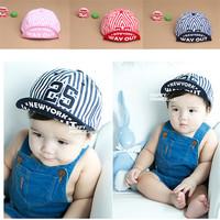 Baby Unisex Kids Girls Boys Stripes Snapbacks Hats Baseball Cap Flat Visor Snapback Caps Freeshipping