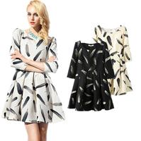 2015 Europe Hitz Korean Slim was thin sleeve thick feather print dress casual dress women summer dress