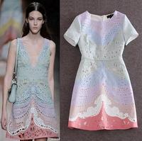 High Quality New 2015 Spring Summer Dress Fashion Women Gradient Color Print Hollow Out Floral Jacquard Cotton Mini Club Dress