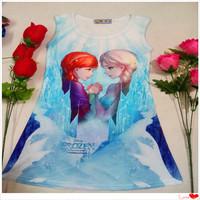 Can Choose Size Girls Summer Dress ELSA ANNA Cotton Lycra Dress Soft Children Dress Clothing