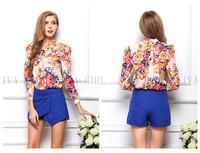 2015 New Sexy Slim Floral Printed Long-sleeved Shirt Lady Button Chiffon Shirt