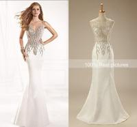 Illusion Sweetheart Alluring Beading Sexy See Through Back Mermaid Evening Dresses 2015 Long Prom Dresses Tarik Ediz Dresses