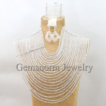Luxury 20 Layers Big Costume African Jewelry Set Clear White Full Crystal Beads Necklace Jewelry Set