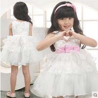 Free Shipping Children Wedding Formal Dress flower Girls Princess white Dress Cute Bow Tutu Vest Dress party dress Q29