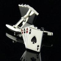 Retail 1 pairs New 2015 Hot sale poker  men's shirt  cufflinks  cuff links