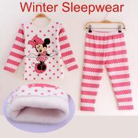 2014 brand new cut cartoon design autumn winter kids girls sleepwear fashion children long sleeve pajama set