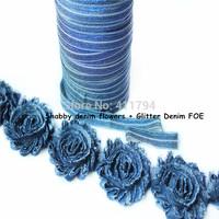 "DHL Free shipping""  2.5''  30 yards shabby denim flowers + 5/8'' 100 yards glitter denim Fold over Elastic  headband"