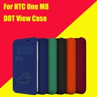100X For HTC One M8 Dot View Flip Case Cover With Auto Sleep Wake Function Silicon Mobile Phone Cases + Free Screen Protector