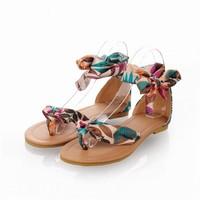 New 2015 Flat Sandal Shoes For Women  Summer Ankle Strap Casual Flat Heel Riband Sandals Sandalia Feminina WN4006