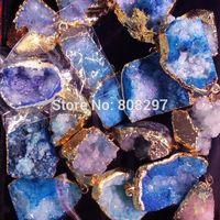 Finding - 24k Gold plated Edge Druzy ,Geode drusy quartz Pendant in Blue Color 8pcs