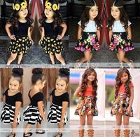2015 summer new kids girls clothing set,new design T shirt+dress 2 pcs baby girl clothing,Flowers girls dress sets kids clothes