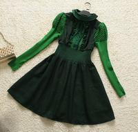 Europe Fashion Clothes Noble Quality   Vintage  RufflesDress Puff  sleeve new women104