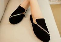 2014 New Fashion Spring Autumn Zipper Decoration Leather Platform Shoes Woman Shoe Round Toe Women Flats Sapatos Femininos