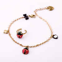 toe ring anklet set  heart dangle Ladybug enamel rhinestone free shipping hip pop high fashion