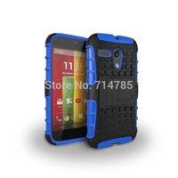 2 In 1 Dual Color Heavy Duty Cube Pattern Plasitc & TPU Hybrid Case Hard Back Skin Cover Kickstand for Motorola Moto G XT1032