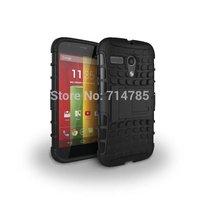 10pcs/lot,Dual Color Heavy Duty Cube Pattern Plasitc & TPU Hybrid Case Hard Back Skin Cover Kickstand for Motorola Moto G XT1032