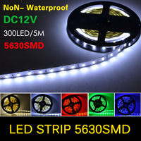 NEW Chip 5630 (5730) SMD LED Strip flexible light DC12V Non- Waterproof, 60LED/M, 5M/lots, More Bright than 5050, 3528, 6 color