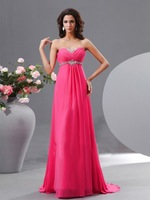 New Arrival Beading Strapless Hot Pink Prom Dress Evening Gowns Empire Waist Chiffon Long for Maternity NF149