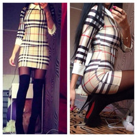 2015 New Arrival winter and spring Women Bodycon Dress Plaid Mini Vintage Dress casual Sexy Dress Vestidos Free Shipping LL1607