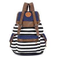 Bloomingstar  2015 Stripe Women Printing Backpack Women School Bags Travel bags Students Backpack women Shoulder Bags SG010