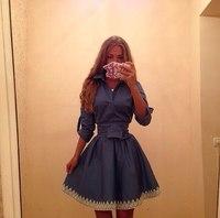 2015 New Arrival autumn and winter fashion women's clothing lapel long sleeve lace dress Slim v-neck DressesElegant casual dress