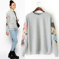 New 2015 spring auturn women hoody Loose Crewneck Sweatshirt Cute printed Sleeve Graphic Pullovers  Hoodies Suits