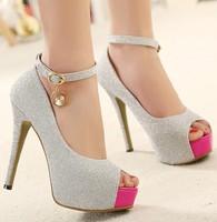 fashion summer ladies wedding shoes woman sexy high heels girls ankle strap sandals women shoes platform peep toe pumps GD150184