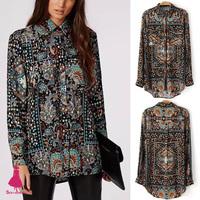 2015 New Spring Summer Arrivals Vintage Women Multi-Color Totem Paisley Floral Print Lapel Cotton Shirt Blouse Top