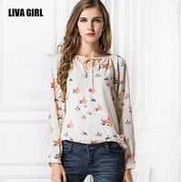 Spring 2015 new Europe birds autumn tethers V-neck blouse print Plus Size chiffon shirt women blouses blusas femininas CS107
