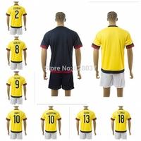 New Fashion 2015 New Style ESCOBAR Aguilar Falcao Valderrama James C.Zuniga Yellow Black Jerseys Uniforms Kit Soccer Jersey