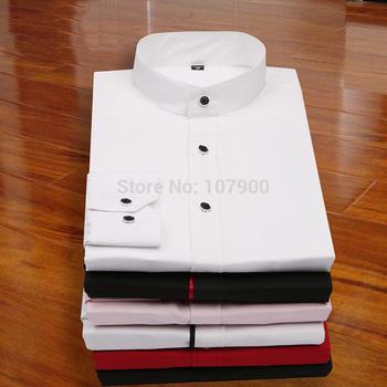 Мандарин воротник мужчин рубашки 2015 новый сплошной цвет тонкой пригонки с длинным ...