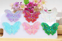 Free shipping shining butterfly 30pcs/lot mix colors for kids phone accessaries resin cabochons