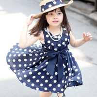 2015 Summer Baby Girls Dress Clothes Children cute Dot Girls dresses Korean Bowknot Vestidos De Menina Children Clothing LC20