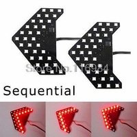 2pcs x Red 27-SMD Sequential Arrow Panel Car Side Mirror Turn Signal Blinker Light