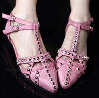 new 2015 luxury vogue shoes women rivets flat shoes  low-heeled sandals