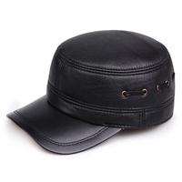Quinquagenarian genuine leather hat male winter ear flat cotton cap quality sheepskin leather hat