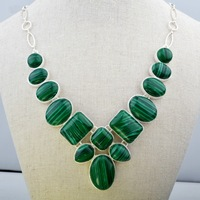 free shipping Good Quality Jewelry rose quartz Inlay Silver Plated Collar Necklace malachite necklace 4pcs/lot