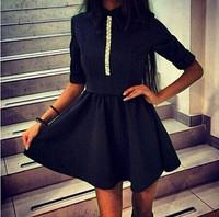 New Fashion European Sweet Style Solid Color Turn Down Collar Causal Style Half Sleeve Women Dress Stylish Design Dress