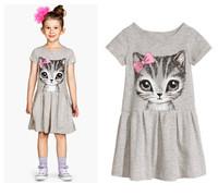 New Arrival 2015 Summer Girl Dress Cat Print Gray Dress Brand Kids 3-10years Vestidos Baby Girls Clothes Saias Children Clothing