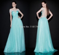 Lovely Full Skirt Green Evening Gown Ruched Bodice Sheer Boat Neck and Sheer Back Beaded Applique Impressive Evening Dresses