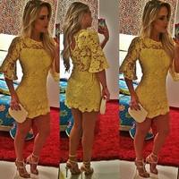 Lucky Friday new spring dress 2015 yellow lace dress women party bandage bodycon Vestidos Femininos casual vestido de festa