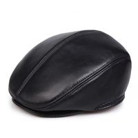 Male quinquagenarian genuine leather hat forward cap warm hat winter sheepskin cap