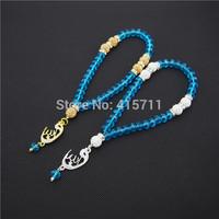 Lake Blue Crystal Rondelles  Islamic Muslim Prayer Beads Tasbih 33beads Allah Misbaha Sibha   L150113010