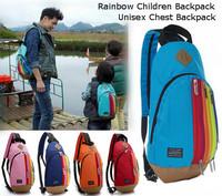 New Unisex Nylon Chest pack shoulder Travel Bags Children School Double Shoulder Bag Rainbow Zipper Kids Backpack