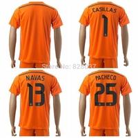 New Fashion Real Pacheco Casillas Navas Bale James Kroos Ronaldo Soccer Jersey 2014-2015 Orange Kit Uniforms Goalkeeper Jerseys