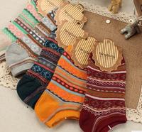 5025  Free shipping Autumn Spring Thermal  Harajuku Retro Folk Style Multicolour Cotton Women Short Scoks