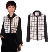2015 New Fashion Women long sleeve rayon Plaid Shirt slim blusas femininas DQ004