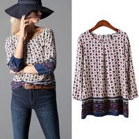 #YZX-XN Women Print Blouse Spring Women Clothing Women's Blouses Shirts Bodycon Shirt